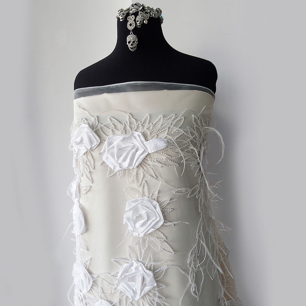Bridal lace fabric beaded tulle 3d flowers pearls and for Bridal fabric