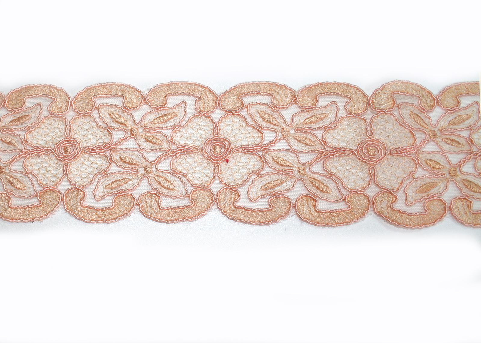 Peach Bridal Border Trim Tulle Metallic Thread Embroidery Neckline Vail Hem Belt Cuffs Wedding ...