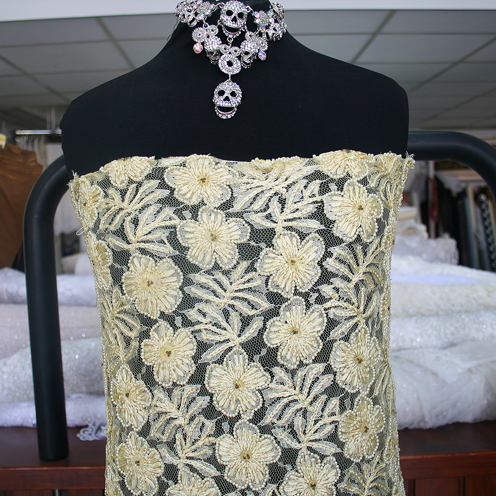 Yellow beaded lace fabric floral embroidered tulle