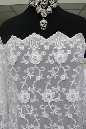 white bridal embroidered chiffon
