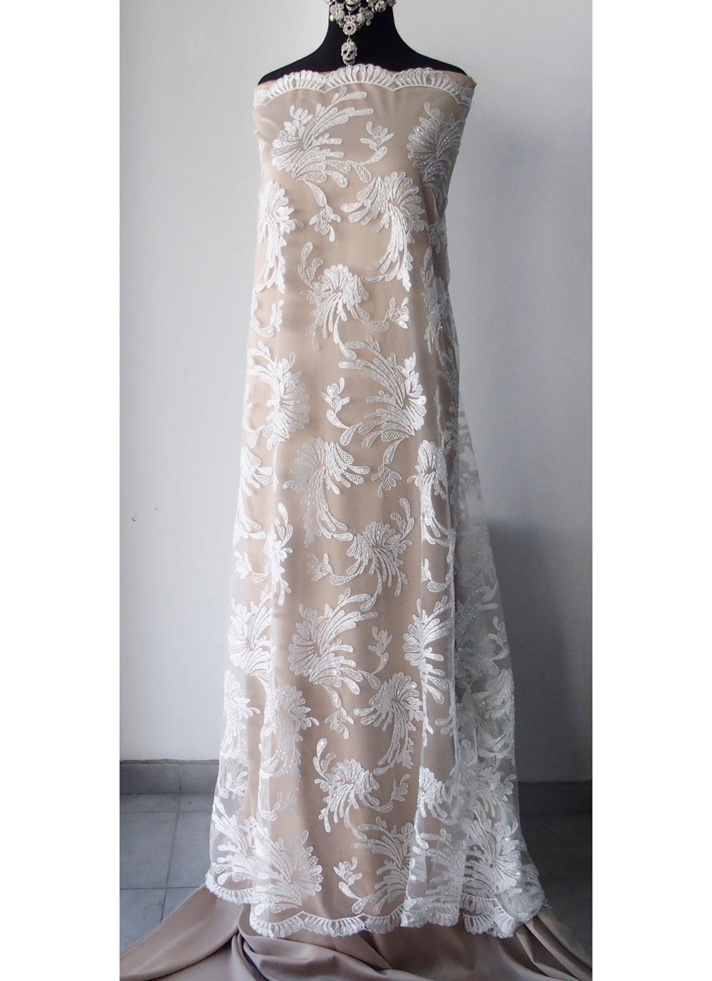 White off white bridal beaded lace fabric wedding dress for Materials for wedding dresses