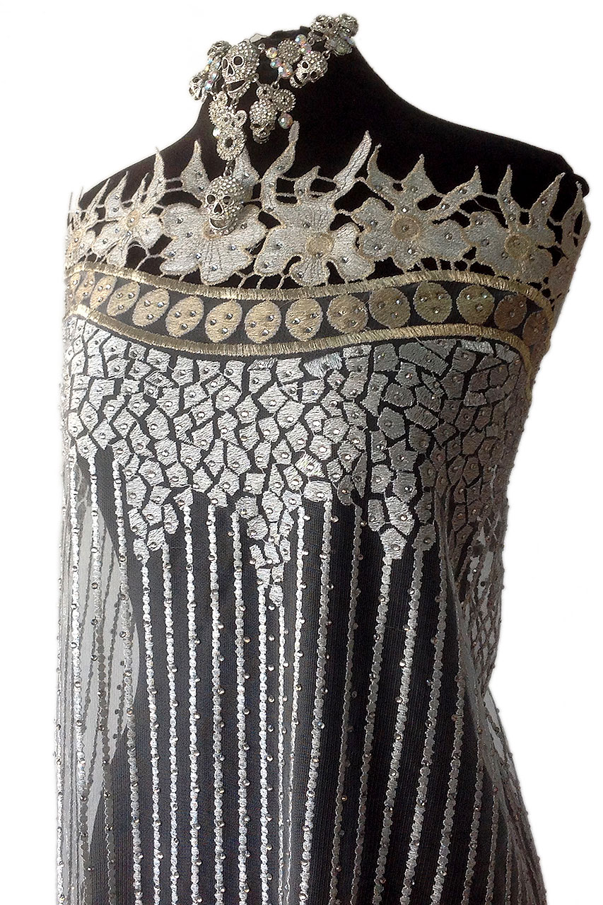 silver beaded lace