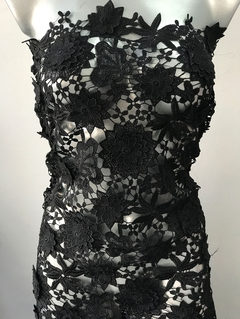 Black Guipure Lace Fabric 3d Flowers Goth Wedding Dress