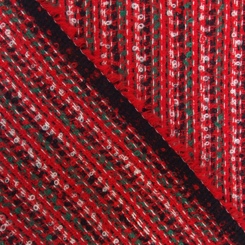 red boucle wool