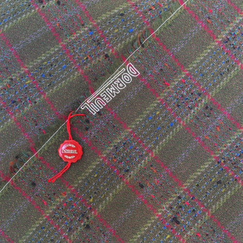 green wool check fabric