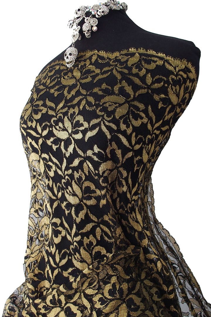 Black And Gold Lace Fabric Black Lace With Golden Yellow