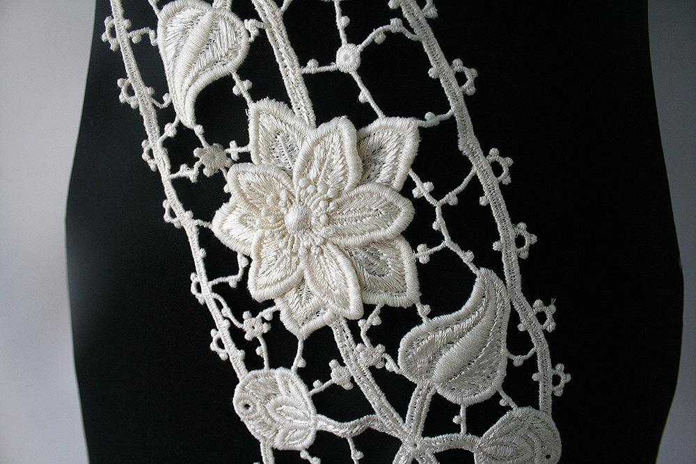 Wide Cream Bridal Border Trim Embroidery Bustier Vail Hem Belt Sash Cuffs 3D Flowers Wedding ...
