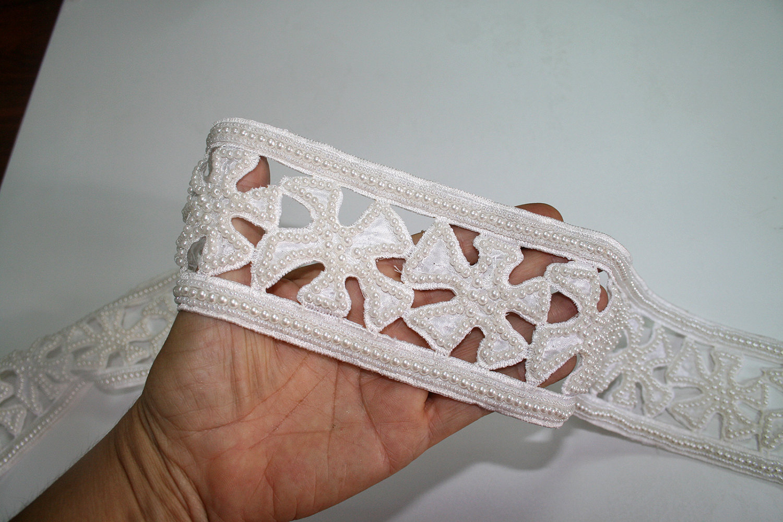 White Cream Bridal Border Trim Embroidery Bustier Veil Hem Belt Sash Cuffs Cross Pearls Wedding ...