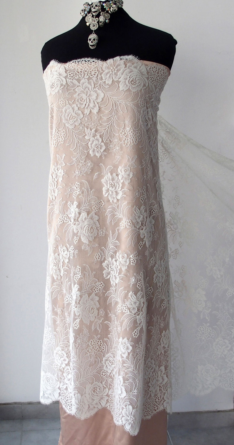 Off white lace fabric french lace floral lace roses for White lace fabric for wedding dresses