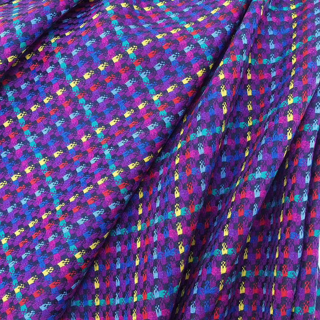 Pure Wool Womens Suiting Fabric Multi Color Mainly Purple