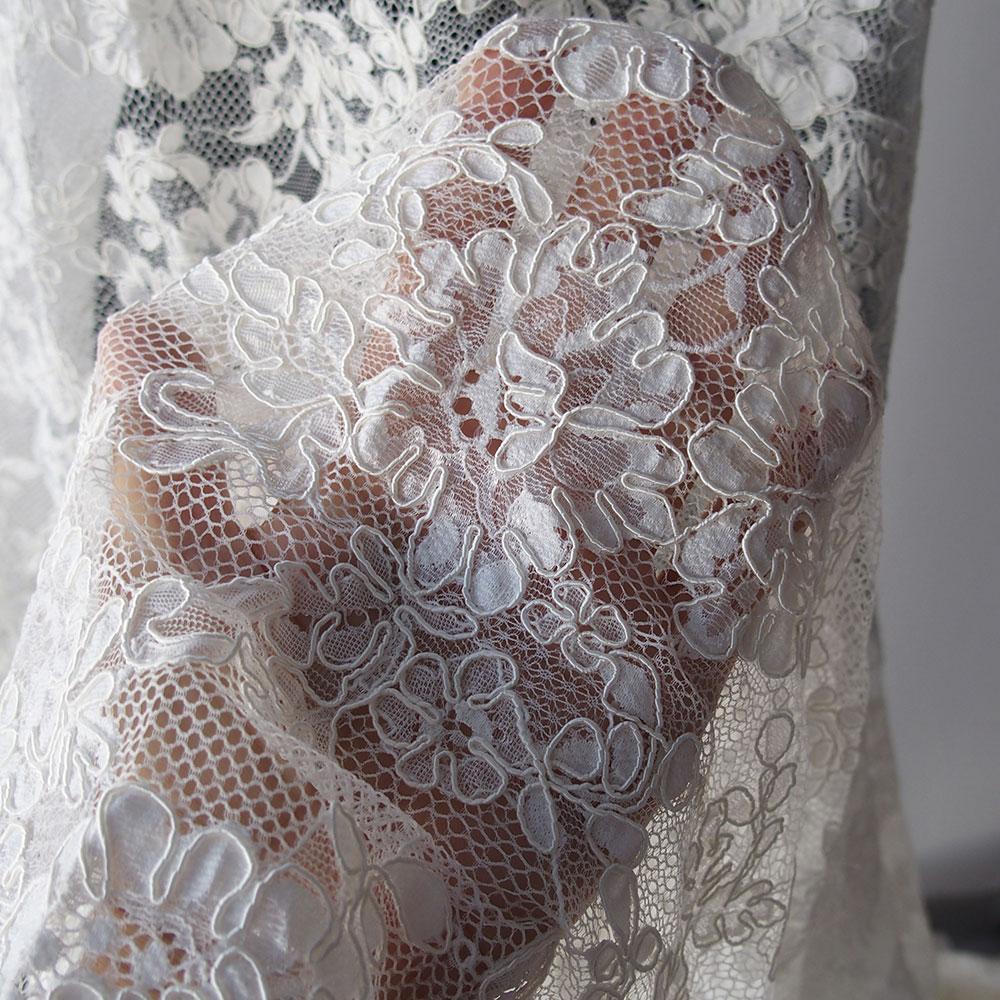 White corded alencon lace fabric bridal floral scallop for Bridal fabric