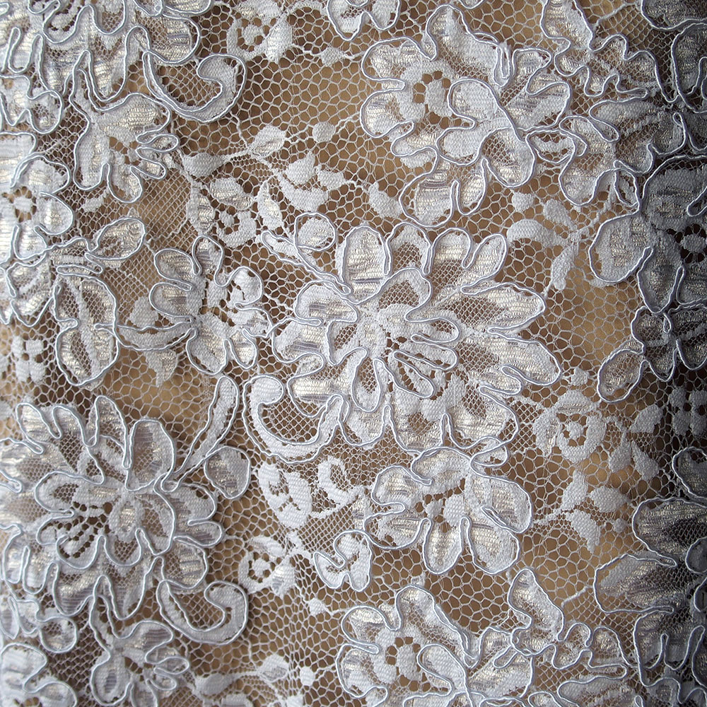 White Corded Alencon Bridal Lace Fabric Floral Scallop