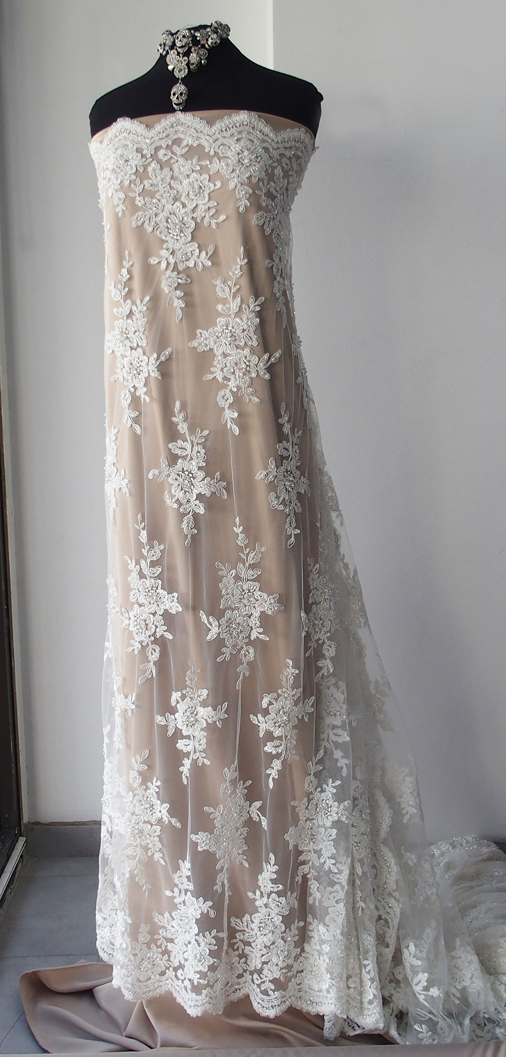Ivory bridal Beaded Lace fabric pearls sequins scallop ...