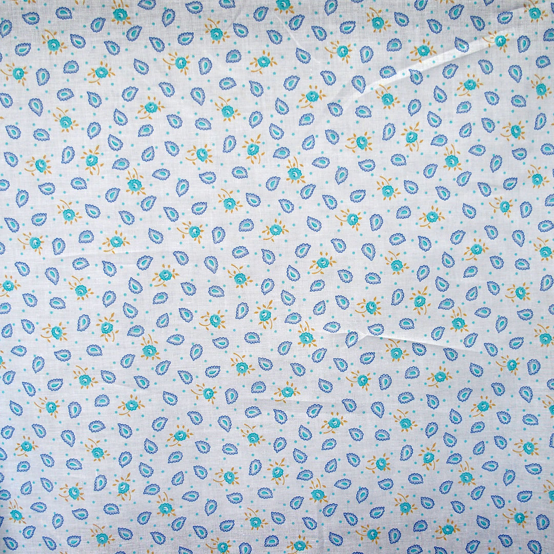 Cotton Fabric Small Floral Print Blue Paisley On White