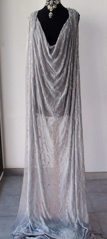 Silver grey silk crepe georgette chiffon floral for Silk georgette wedding dress