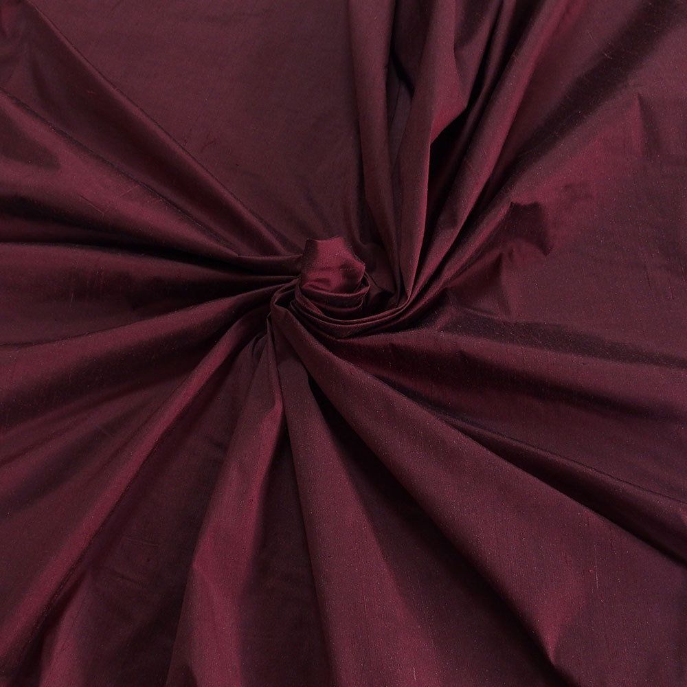Burgundy Red 100 Dupioni Silk Fabric Yardage By The Yard