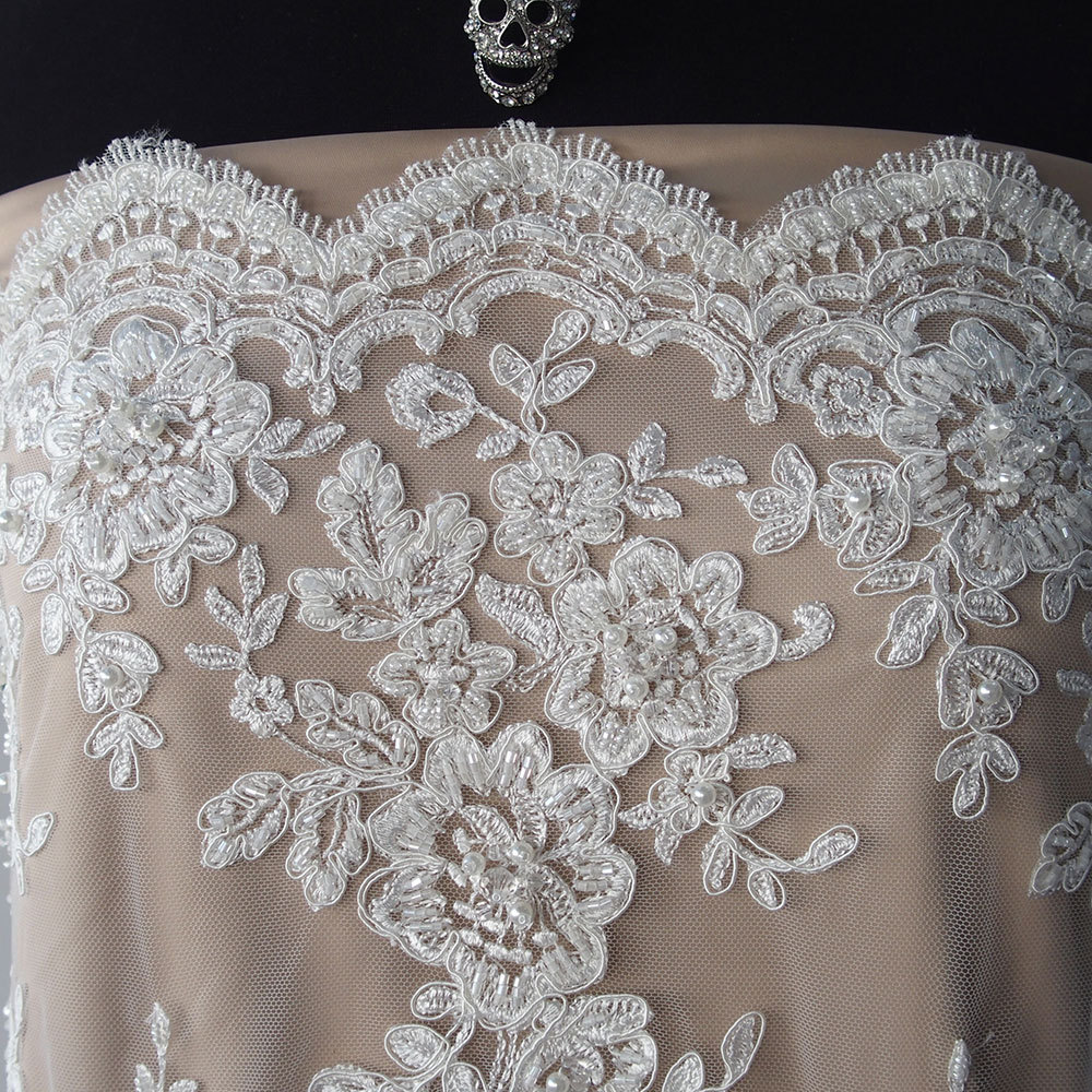 ivory bridal beaded lace fabric pearls sequins scallop