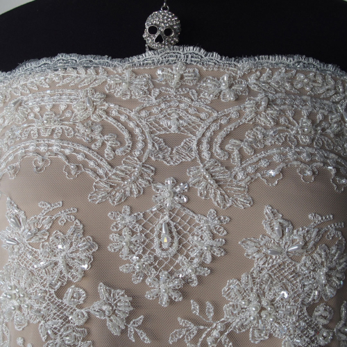 Lace guippure beaded bodikian textiles for Bridal fabric
