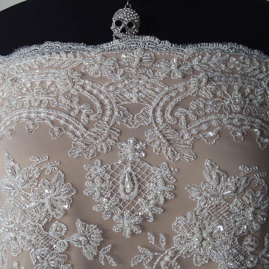 Ivory Beaded Lace Fabric Pearls Sequins Iridescent