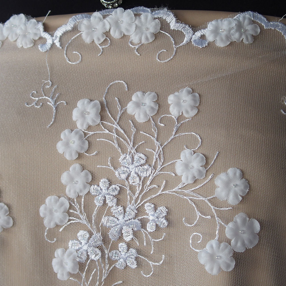 White Bridal Lace Fabric Tulle Embroidered 3d Flowers