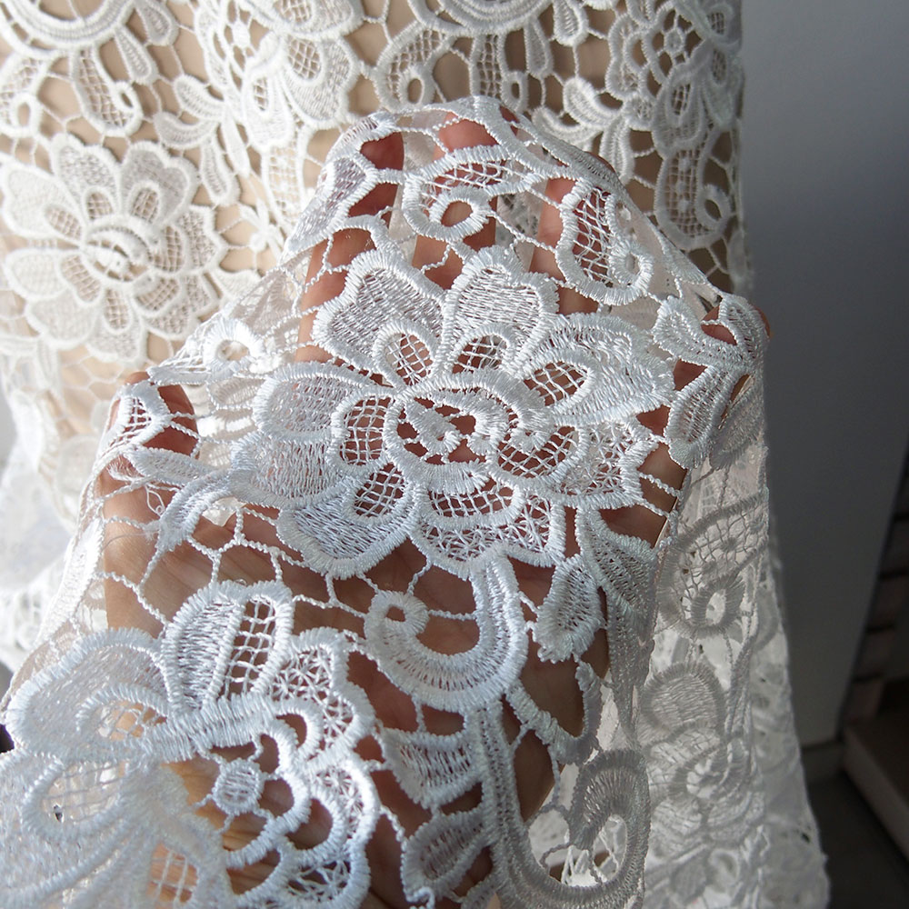 Off white bridal guipure lace fabric scallop edging for Bridal fabric