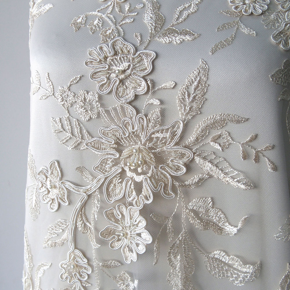 pink chagne ivory bridal beaded lace fabric corded