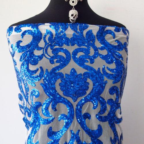 cobalt blue beaded fabric