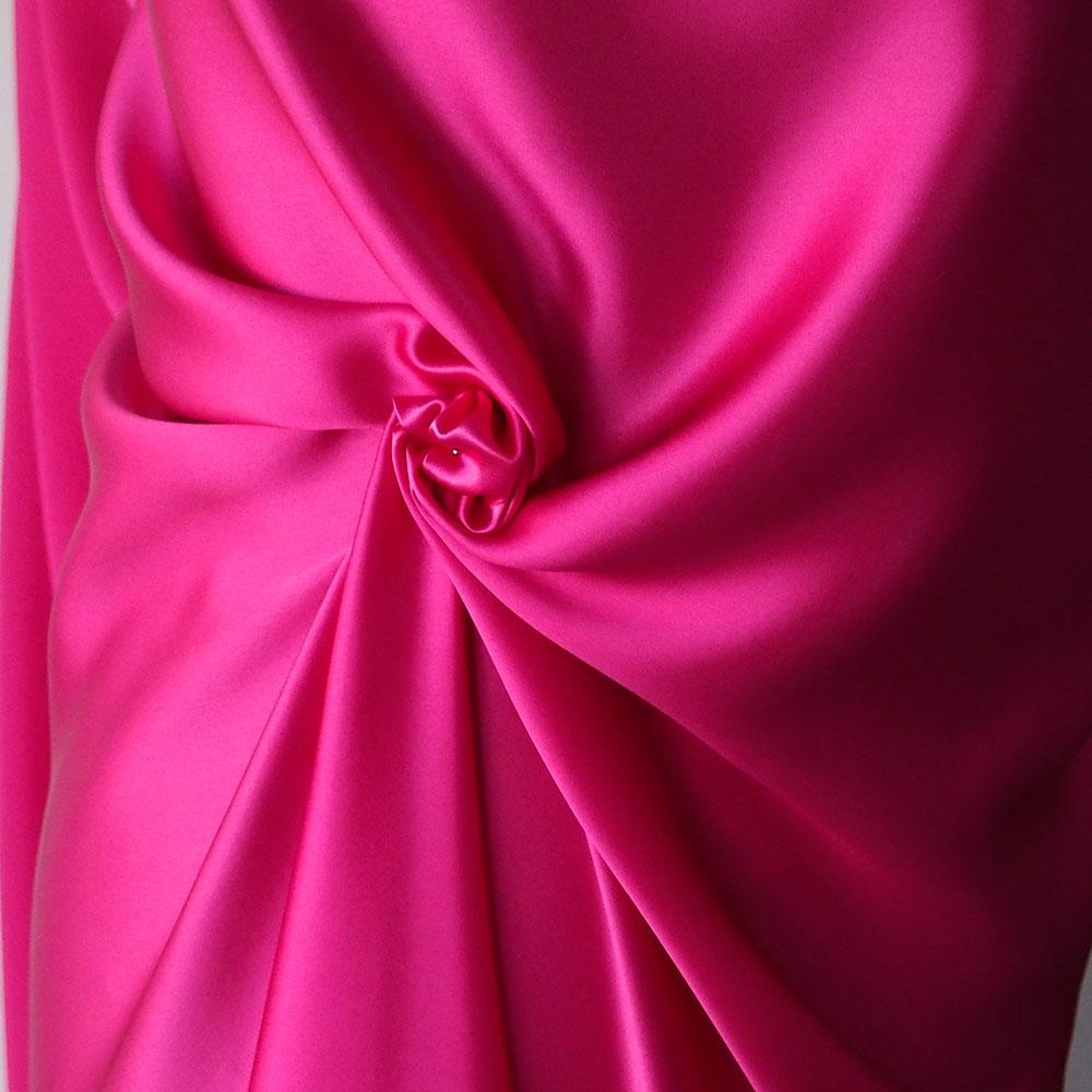 Fuchsia pink silk satin fabric high quality bodikian for Satin fabric