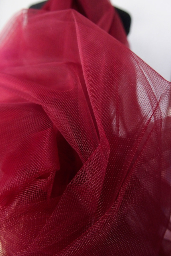 maroon red tulle