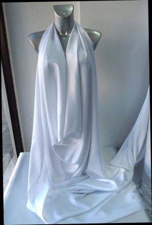 white stretch satin