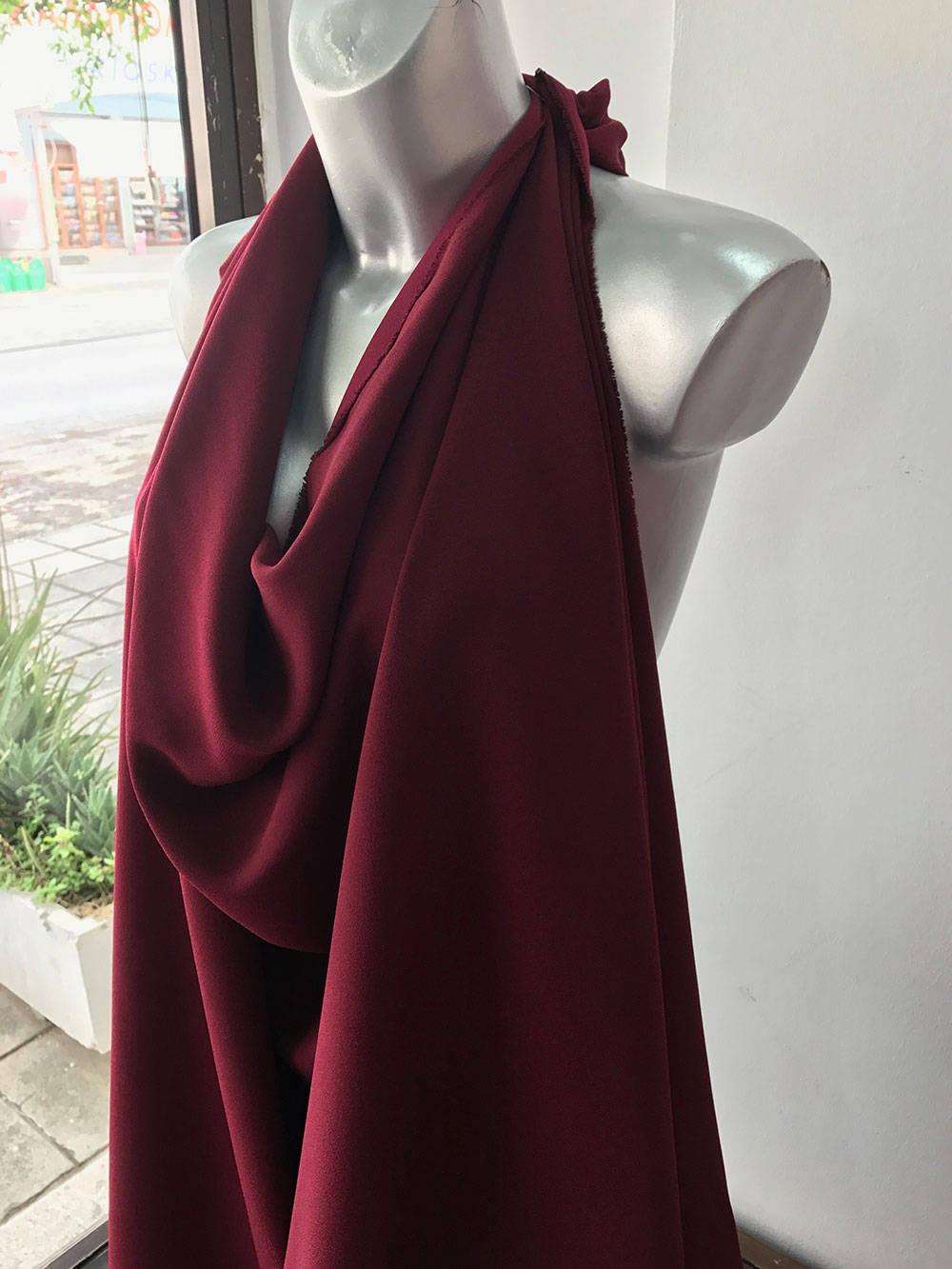 wine red crepe fabric