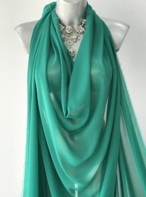 emerald green chiffon