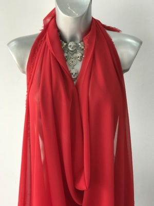 red polyester chiffon fabric