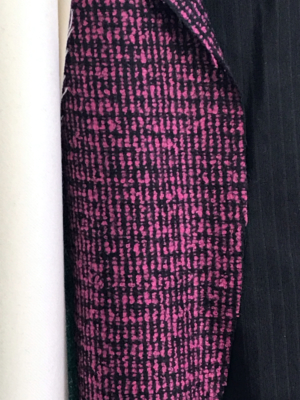 pink on black boucle tweed