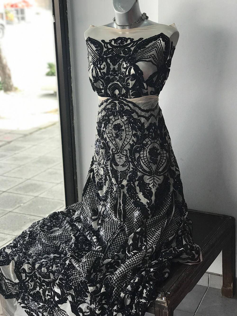 black sequins lace