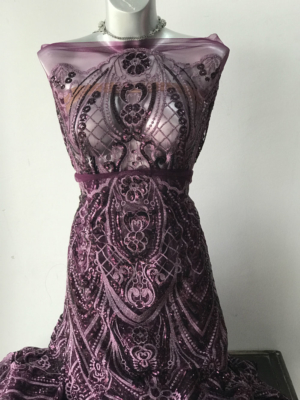 aubergine corded lace