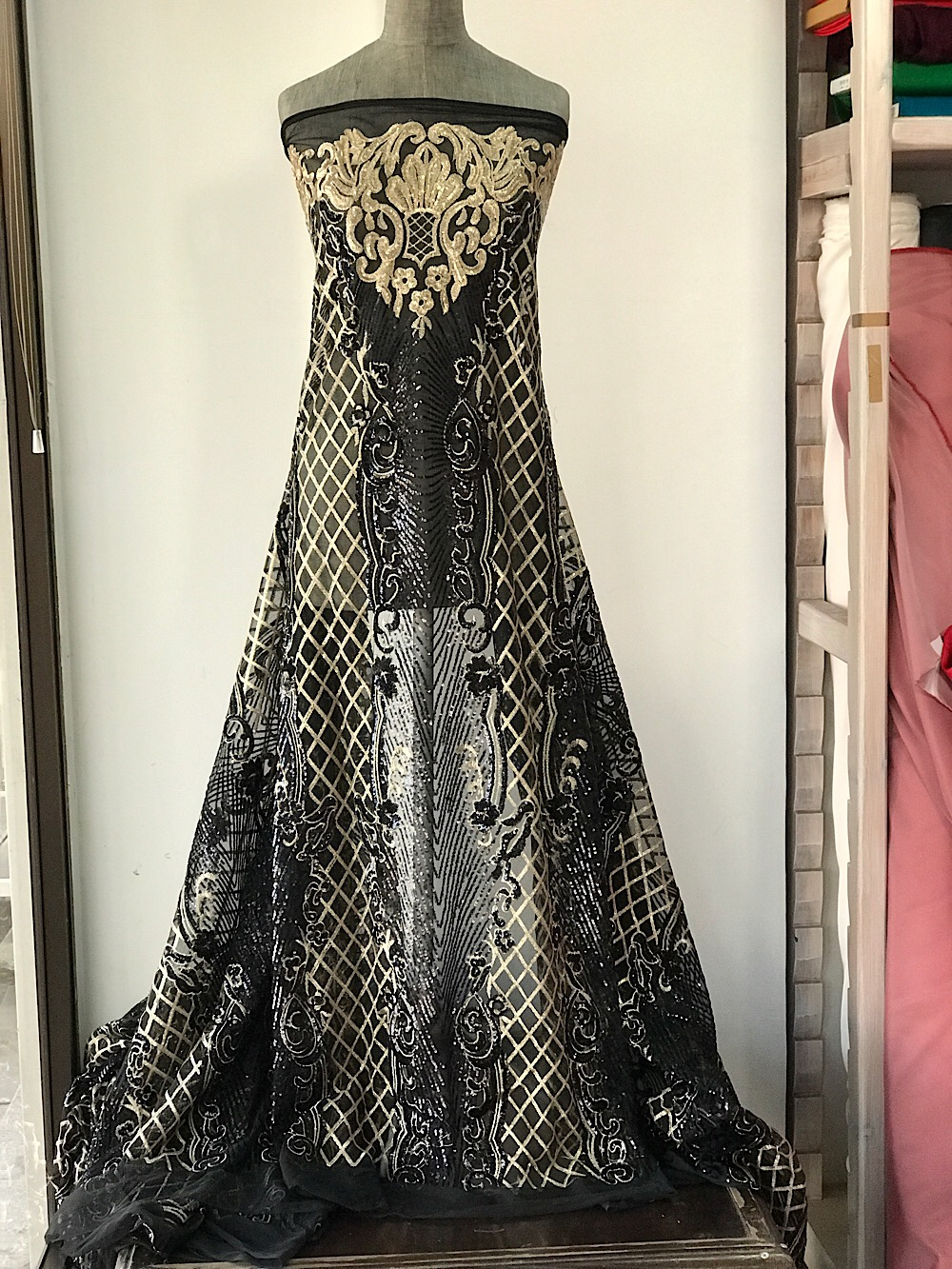 gold on black sequins lace