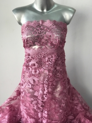 pink beaded lace