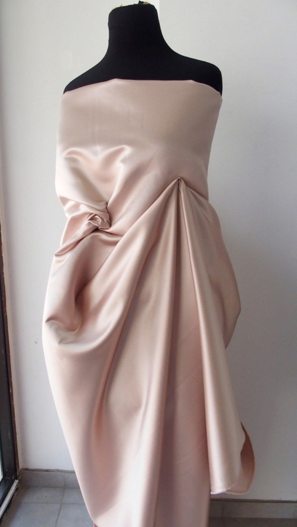 nude pink champagne pale pink shell pink duchess satin bridal semi stiff under lace 150cm 60 inches