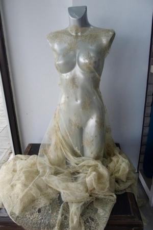 Gold bridal lace fabric