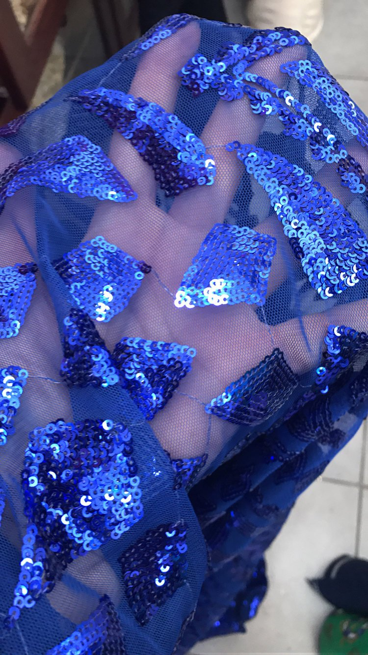 Cobalt blue sequins on tulle Baroque design latest fashion trend in evening wear