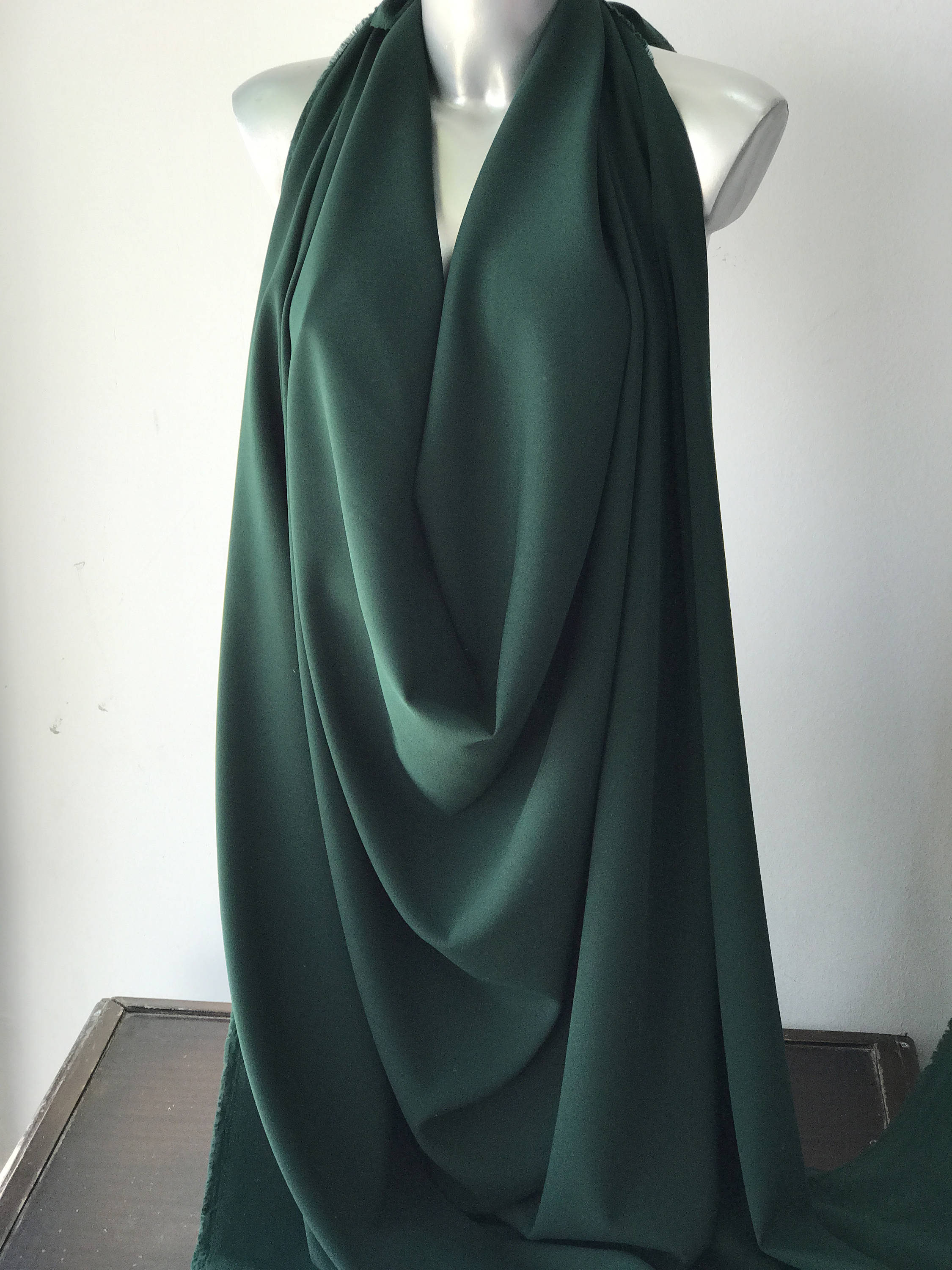 Green crepe back satin fabric 2 way stretch polyester spandex 150cm 60 inches