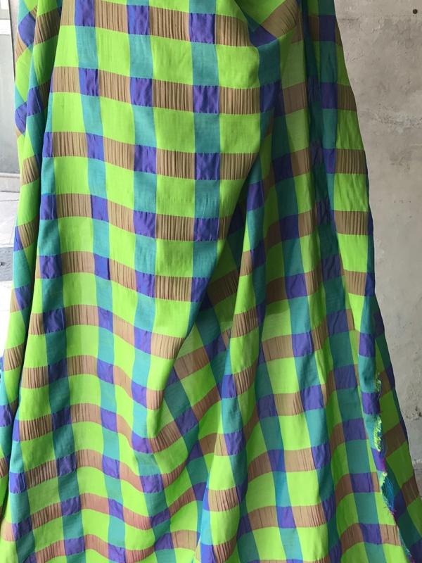 check pattern sear sucker fabric viscose acetate orange green purple summer sun dress