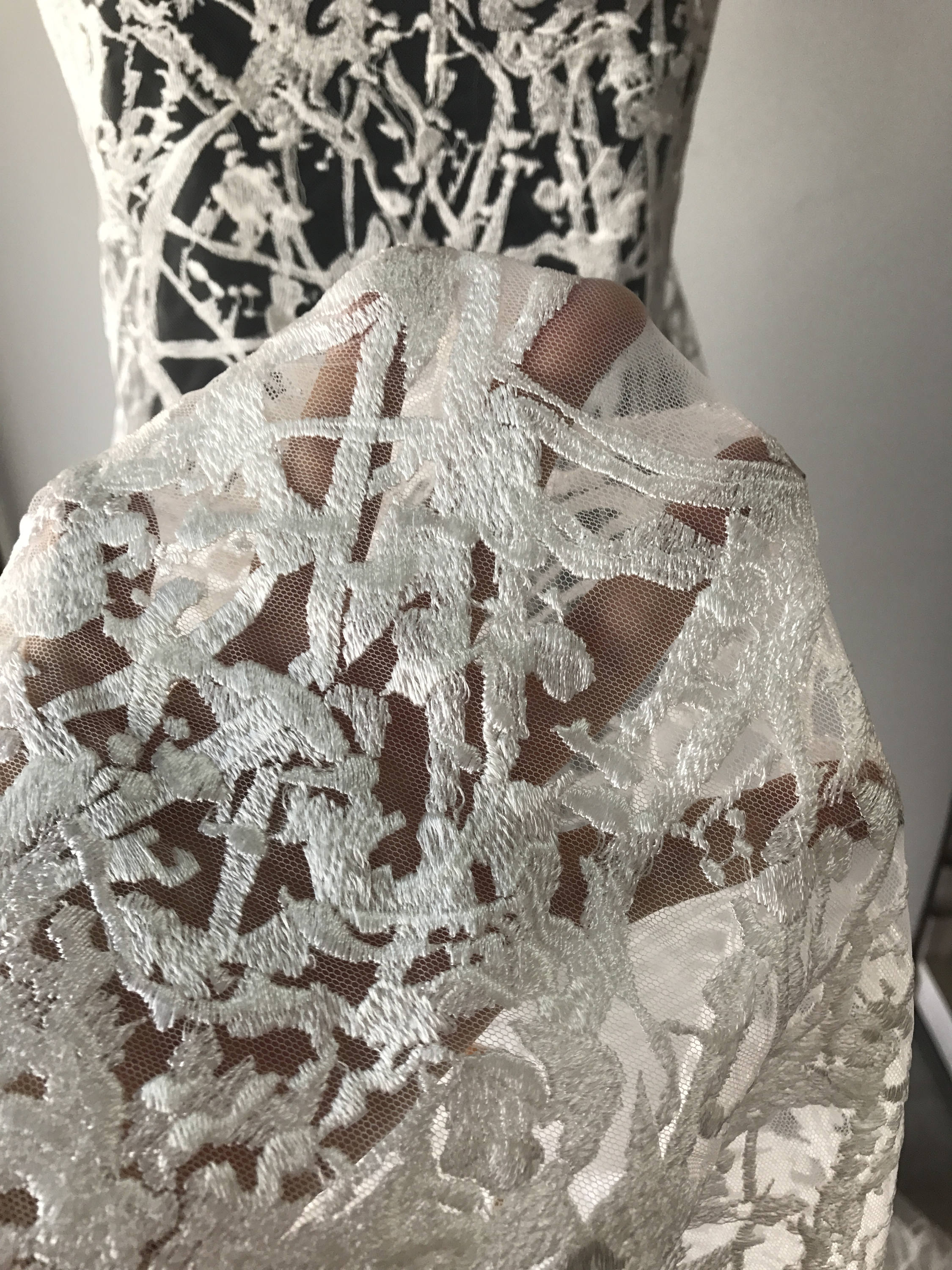 Off white ivory bridal lace fabric, embroidered tulle for wedding dress