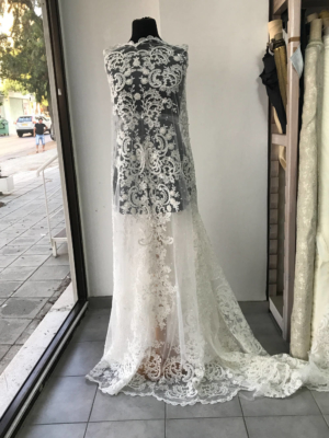 Off White Light Ivory bridal lace fabric embroidered beaded pearls sequins floral Baroque design, wedding dress