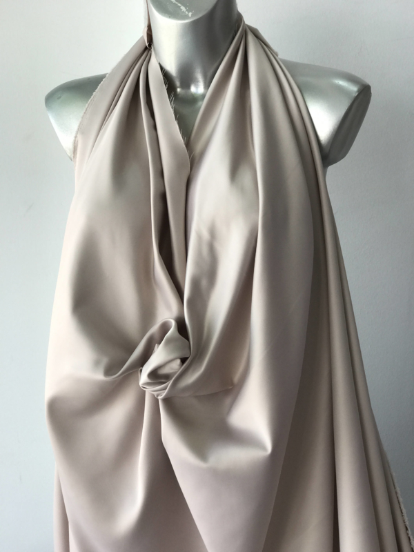 nude, pink beige mushroom colour polyester spandex dull satin heavy two way slightly stretch bridal under lace 150cm 60 inches