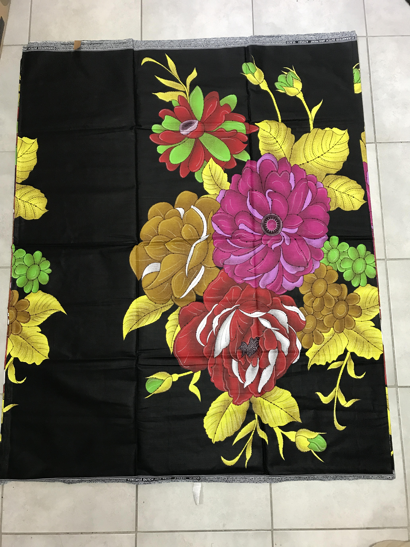 Cotton wax print huge floral pattern black yellow Pink 100% cotton chintz 6yards