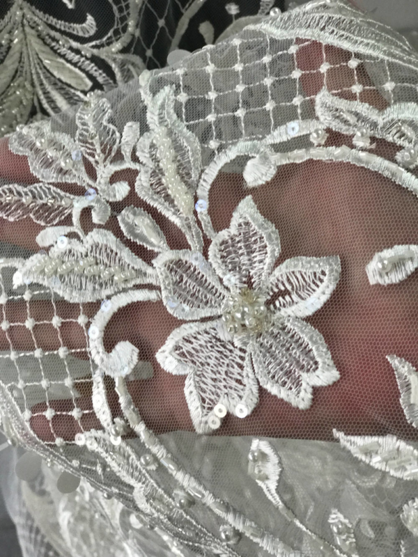 Off White Light Ivory bridal lace fabric embroidered beaded pearls sequins floral Baroque design, wedding dress scallop edge