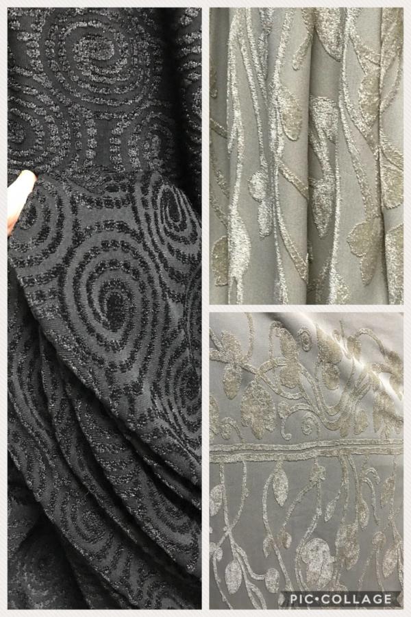 Knit fabric jersey flock velvet on jersey black beige