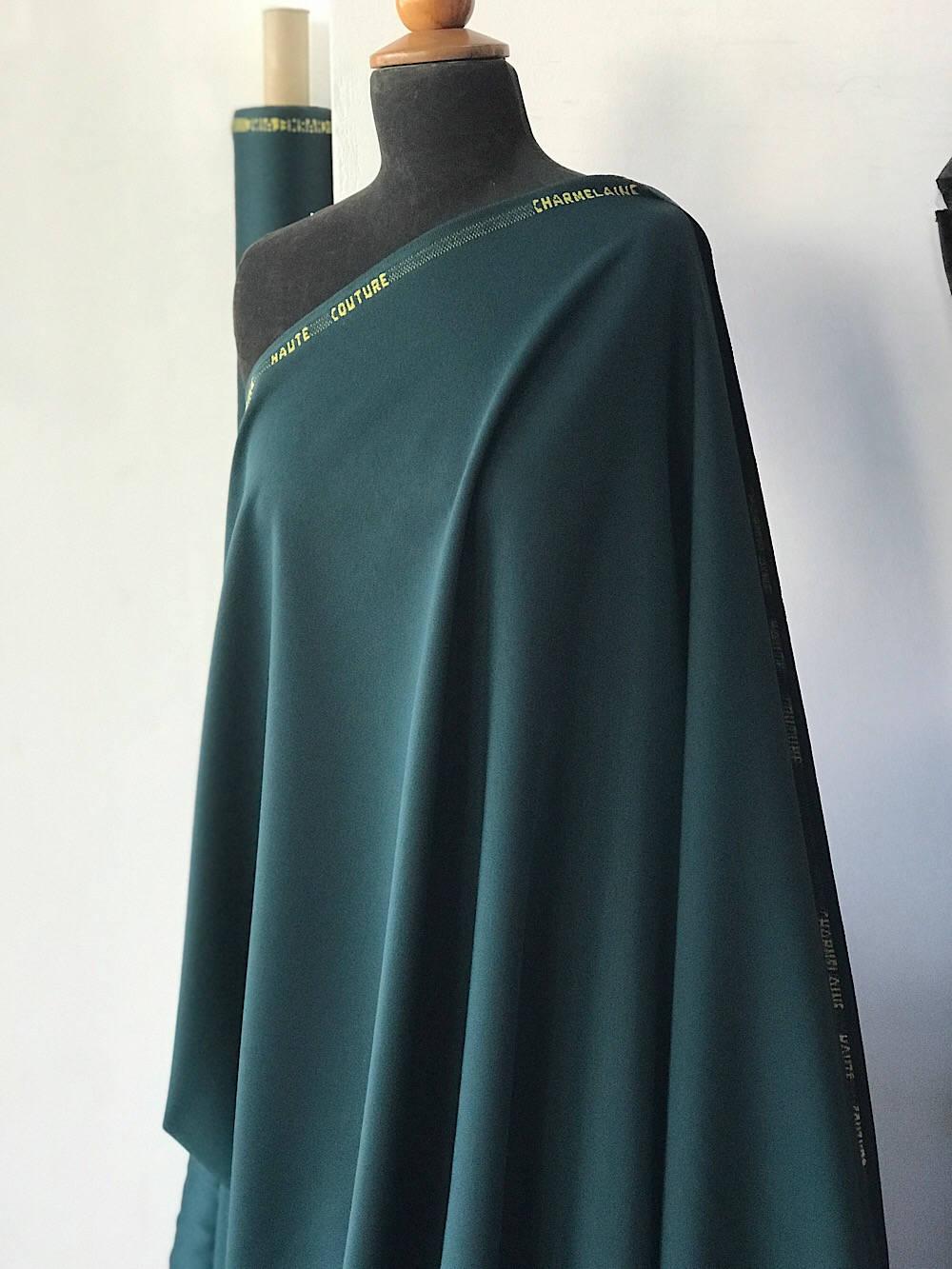 Green Wool venetian suiting fabric, sateen wool dark Forrest green bottle green Charmelaine